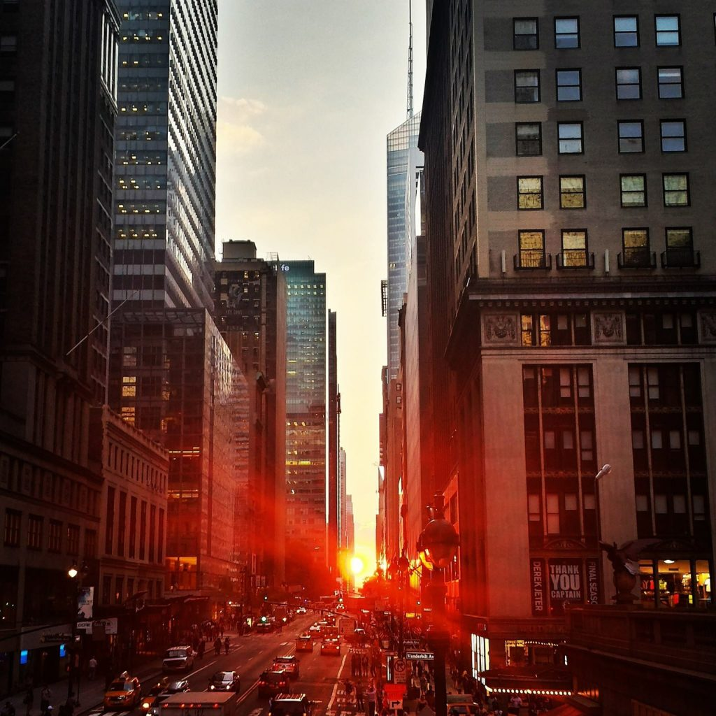 sunset, city, buildings
